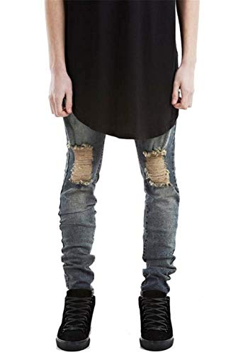Super Trunks Design Strappati Fit Skinny Blu Stretch Uomo Denim nero Fashion Ragazzo Pantaloni Blau Jeans Da EPCz8q
