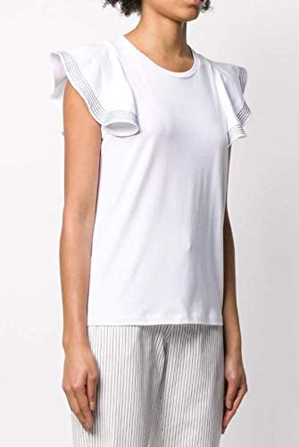 DONDUP T-Shirt in Cotone Manica Corta con Rouches MOD. S821JF0243D Bianco