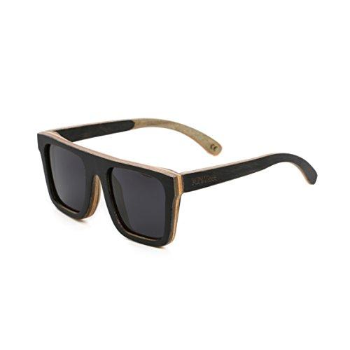 Mini Tree Men Women Skateboard Wood Polarized Sunglasses Wayfarer Style Glasses SW150 (Black, - Shade Tree Glasses