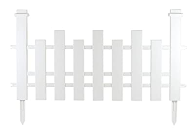 Traditional Landscape White Picket Fencing in a White Wood Grain Finish | 24024 (23.5 x 1 x 15.5 inches)