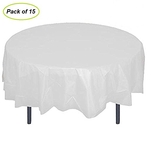 84 Plastic Round Tablecloth? JRing 15Pack Disposable Table Cover Reusable for Any Parties/Event ?PEVA? (White)
