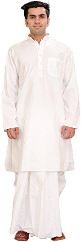 Dhoti Kurta (Exotic India Bright-White Plain Dhoti Kurta Set Size 48)