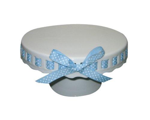 Gracie China by Coastline Imports 10-Inch Round Porcelain Skirted Cake Stand, Plain Round Pedestal White with Light Blue White Polka Dot Ribbon (White Pedestal Cake Porcelain Stand)
