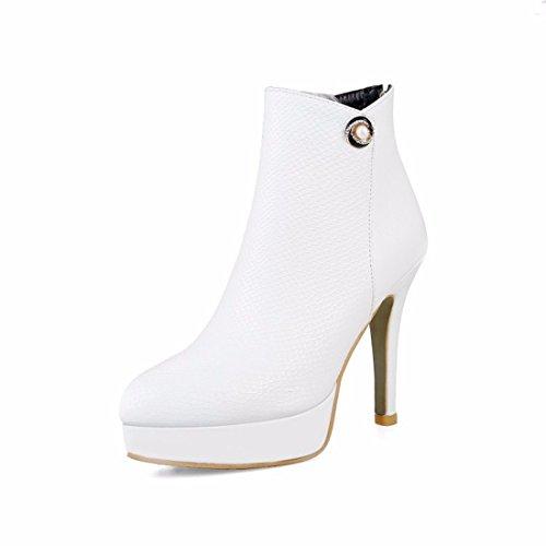 altos y el y redonda tacones europeo americano white mujer y El botas pequeña otoño de invierno cabeza cortas Hg5WSwzq