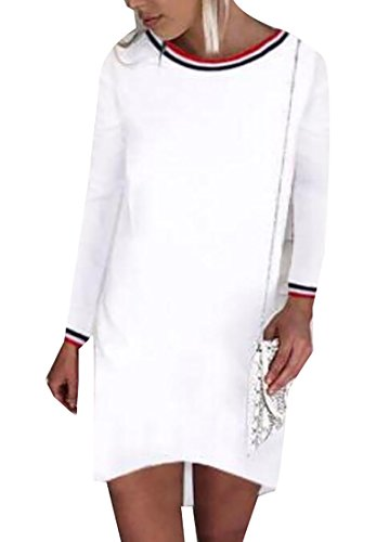 Womens Short Dress Domple Long Fashion White Shift Sleeve fwxBBqFCvP