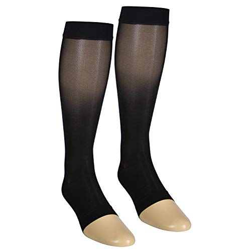 NuVein Sheer Compression Stockings Fashion Silky Sheen Denier Open Toe Knee High, Black, X-Large