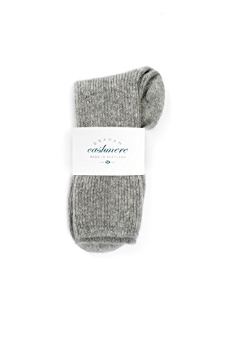 Graham Cashmere Women's Pure Cashmere Bed Socks Gift Boxed One Size Grey