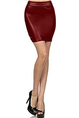 Simlu Womens Fitted Leather Bodycon Mini Skirt