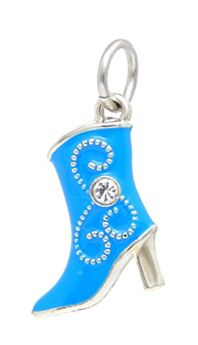 J&M Dangle Sky Blue Cowboy Boot with Crystal Charm Bead for Charms Bracelets