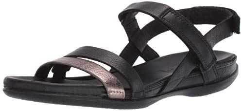 ECCO Women's Women's Flash Ankle Strap Sandal, Stone Metallic/Black, 39 M EU (8-8.5 US) ()