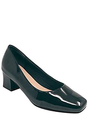 Ladies Womens Square Heel Patent Court Shoe Black 8 UK