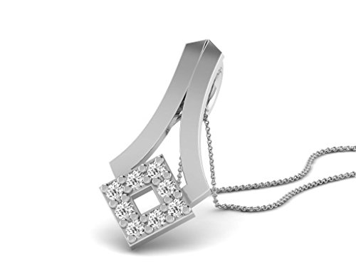 Or Blanc 18 ct Pendentifs Diamant , 0.15 Ct Diamant, GH-SI, 0.75 grammes.