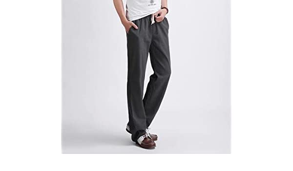 88886c24dd1 Amazon.com  Miki Da Mens Pants NEW Summer Style Joggers Solid Color Casual  Loose Cotton and sweatpants Trousers For Men Dark Grey 4XL  Clothing