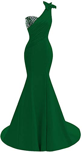 (Lily Wedding Womens One Shoulder Satin Mermaid Prom Dresses 2018 Long Formal Evening Ball Gowns D44 Emerald Green Size 12)