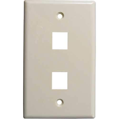 Vertical Cable, 304-J2635/2P/IV, Double (2) Port Keystone Wall Plate (Flush) Ivory (Pack of 50) ()