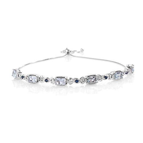 925 Sterling Silver Platinum Plated Aquamarine Blue Sapphire Bolo Tennis Bracelet for Women Cttw 2.3