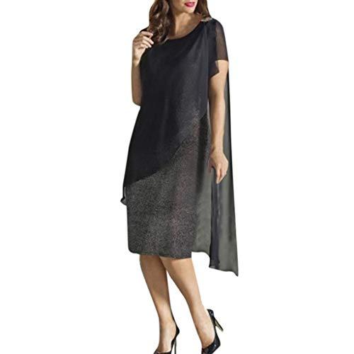 RIUDA Women Elegant Sheath Sparkling Stitching Solid Short Sleeve Shawl Slim Mini Dress Black ()