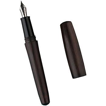 Moonman Natural Wood Handmade Fountain Pen Wooden Cap Extra Fine Nib Writing Gift Pen - Black