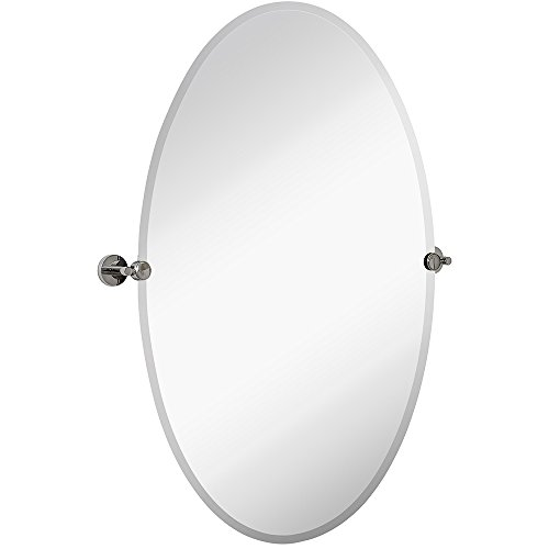 Hamilton Hills Large Pivot Oval Mirror with Polished Chrome Wall Anchors | Silver Backed Adjustable Moving & Tilting Wall Mirror |  24