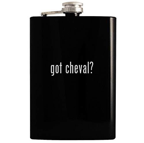 got cheval? - Black 8oz Hip Drinking Alcohol - Cheval Antique Black