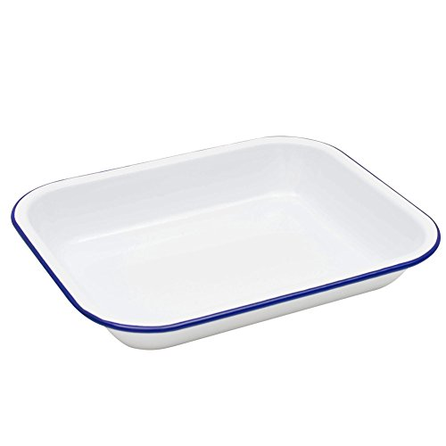 Enamelware Small Roasting Pan - Solid White with Blue Rim