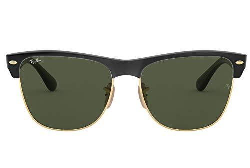 Ray-Ban RB4175 Clubmaster Oversized Unisex Square Sunglasses (Shiny Black Arista Frame, Crystal Green Lens 877) (Ray-bans Clubmaster Oversized)