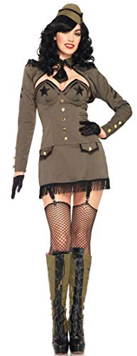 Leg Avenue Women's 5 Piece Pin Up Army Girl Costume, Khaki, Medium