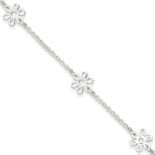 Flower Bracelet Station (Black Bow Jewelry Sterling Silver Flower Station Cable Chain Adjustable Anklet, 9 Inch)