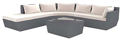 Artelia Alegra Polyrattan Lounge-Set Riesig, Gartenmöbel-Set Couch für Garten, Terrasse und Wintergarten, grau
