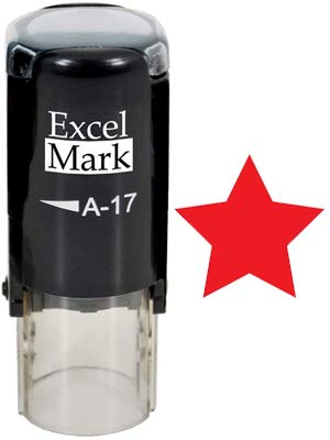 (Round Teacher Stamp - Solid Star - RED Ink)