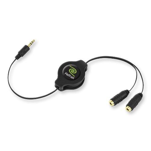 Retrak Retractable Headphone Splitter, Black (ETCABLESPLBLK)