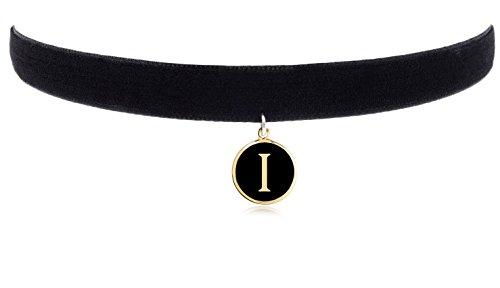 """Cozylife 3/8"""" Girls Black Velvet Choker Necklace with 26 Letter Pendant (I)"""