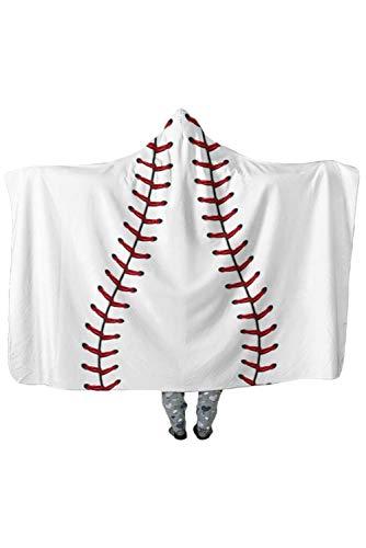 Joyshop Soccer Football Baseball Pattern Plush Soft Thick Blanket American Football Fans Cloak Cape Hooded,Whitebaseball by Joyshop