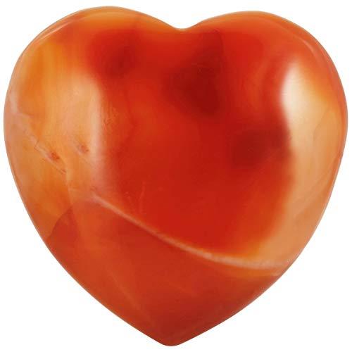 SUNYIK Carnelian Carved Puff Heart Pocket Stone, Healing Palm Crystal (1.5