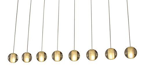 (Orion 8-Light Rectangular Floating Glass Globe LED Chandelier)