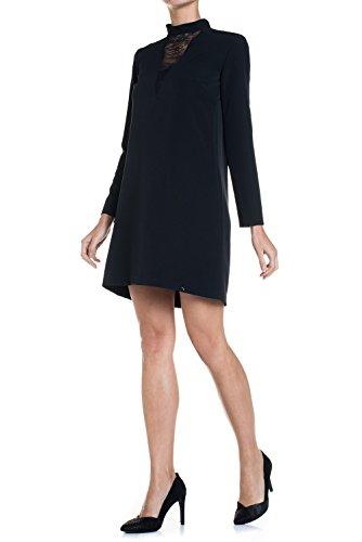 Salsa - Robe unie col cheminée avec application en dentelle - Femme