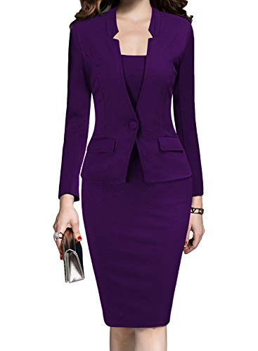 MUSHARE Women's Formal Office Business Work Business Party Bodycon One-Piece Dress Purple -