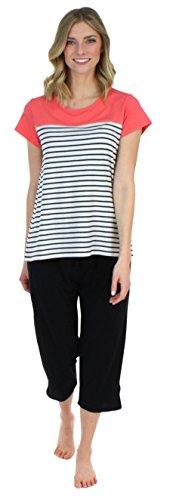 Frankie & Johnny Women's Sleepwear Short Sleeve Coral Tee and Black Capri Pant Pajama Set (FJ1944-B1062-MED) (Capris Knit Sporty)