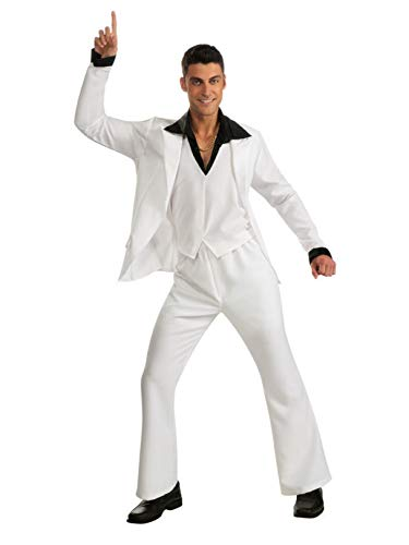 Saturday Night Fever Suit Costume, White, Standard -