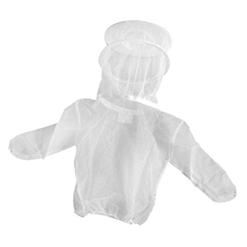 Fityle Beekeeper Beekeeping Protective Veil Suit Dress Jacket Smock Bee Hat White#2