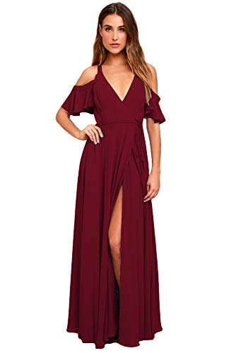 Clothfun Off Shoulder Bridesmaid Dresses with Slit Long A-Line Chiffon Formal Dresses for Women 2020