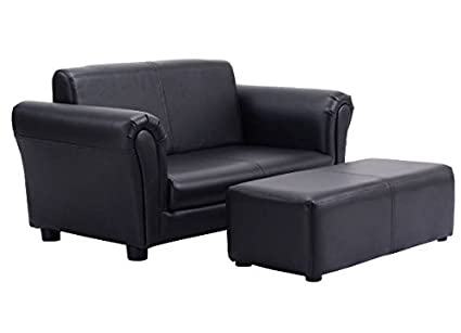 Amazon.com: K&A Company Double Sofa Pu Leather Couch Kid Toddler ...