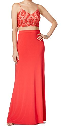 Adrianna Papell Femmes Culture De Perles 2pc Robe Rouge Tomate Haut
