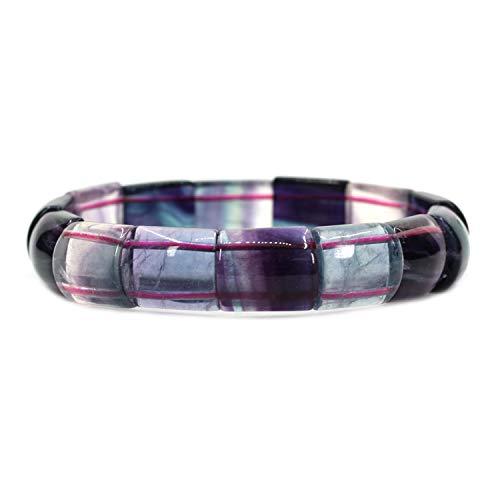 Amandastone Natural AAAA Grade Rainbow Fluorite Genuine Semi Precious Gemstone 15mm Square Grain Faceted Beaded Stretchable Bracelet 7