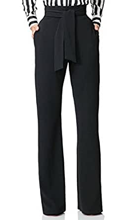Corala Women Casual Stretchy Straight Leg High Waisted Long Pants with Belt,Black,Small