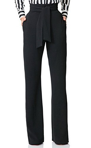 (Women High Waist Stretchy Straight Wide Leg Pants Trousers)