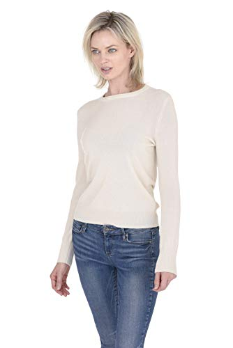 Boatneck Pullover Sweater - Cashmeren Women's 100% Pure Cashmere Classic Knit Soft Long Sleeve Crew Neck Pullover Sweater (Ivory, Medium)