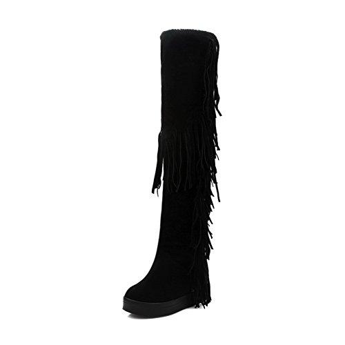 AllhqFashion Mujeres Sin cordones Puntera Redonda Tacón Medio Esmerilado Caña Alta Botas Negro