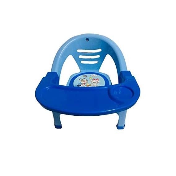 Nabhya Small Baby Chair with Front Food and Safety Tray,Soft Cushion with Baby Whistle Sound-Random Color (Blue)