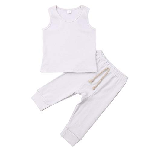 FEITONG Newborn Infant Baby Girls Solid Sleeveless Vest Top+Lace Up Leggings Pants Outfit Set Clothes(White,12-18M)]()